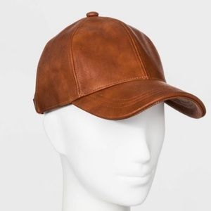 Women's Faux Leather Baseball Hat Brown NWT